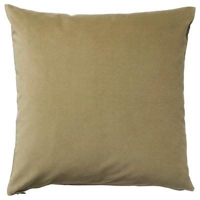 SANELA Cushion cover, light olive-green, 65x65 cm