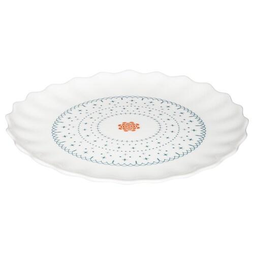 SANNING side plate white/patterned 19 cm