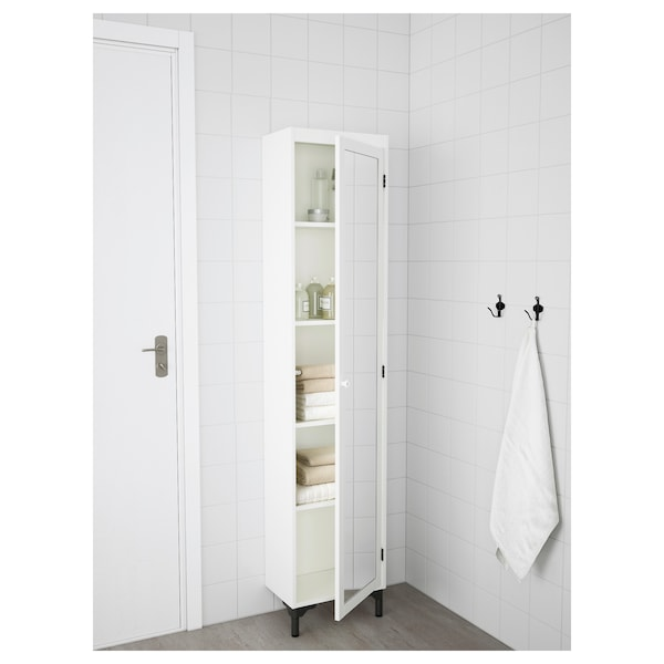 SILVERÅN High cabinet with mirror door, white, 40x25x172 cm