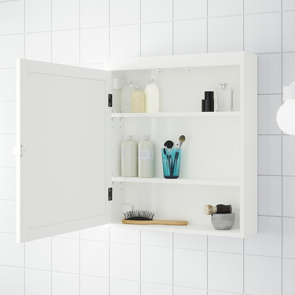 SILVERÅN Mirror cabinet, white, 60x14x68 cm
