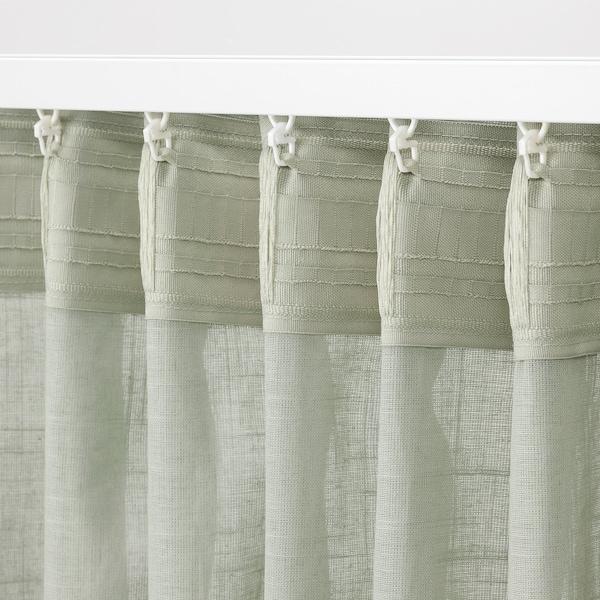 SILVERLÖNN Sheer curtains, 1 pair, light green, 145x250 cm