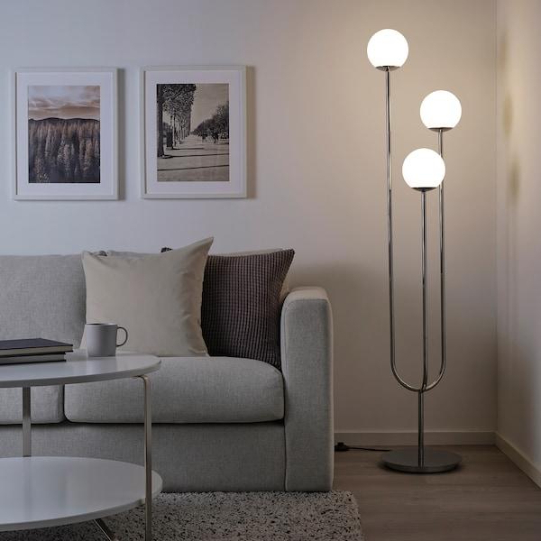 SIMRISHAMN Floor lamp, chrome-plated/opal white glass