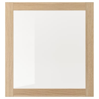 SINDVIK Glass door, white stained oak effect/clear glass, 60x64 cm