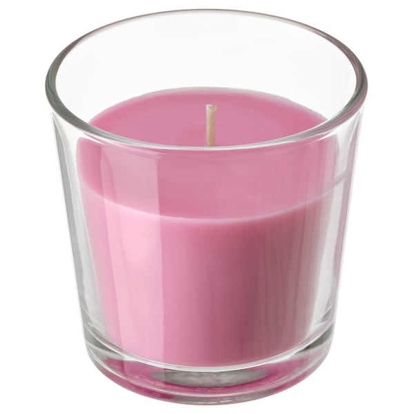 SINNLIG Scented candle in glass, Cherries/bright pink, 7.5 cm