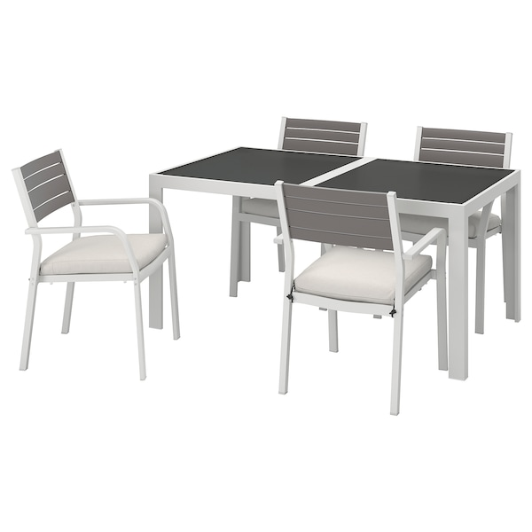 SJÄLLAND Table+4 chairs w armrests, outdoor, glass/Frösön/Duvholmen beige, 156x90 cm