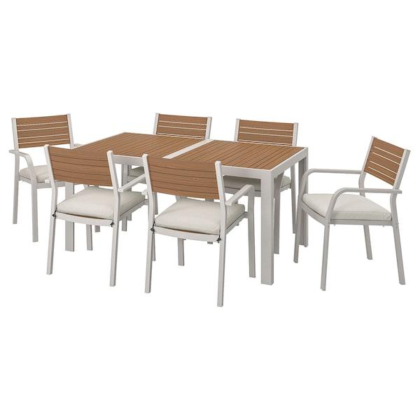 SJÄLLAND Table+6 chairs w armrests, outdoor, light brown/Frösön/Duvholmen beige, 156x90 cm