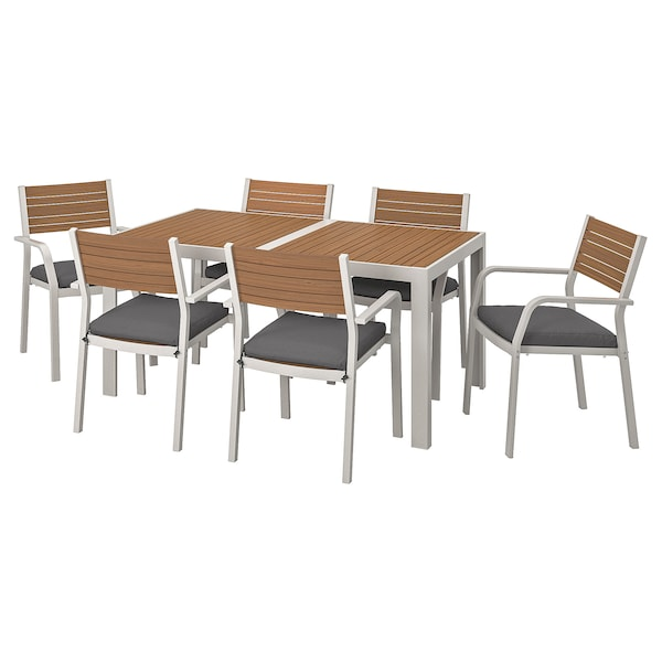 SJÄLLAND Table+6 chairs w armrests, outdoor, light brown/Frösön/Duvholmen dark grey, 156x90 cm
