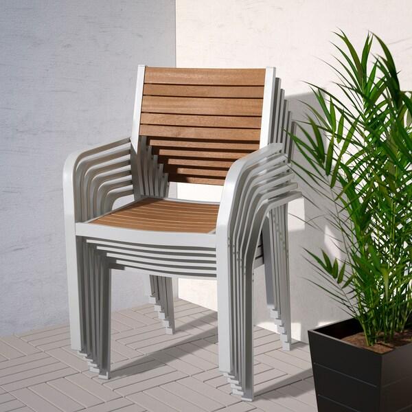 SJÄLLAND Table+6 chairs w armrests, outdoor, light brown/light grey, 156x90 cm