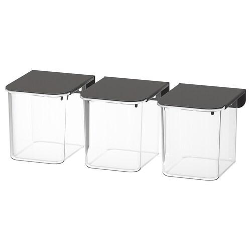 SKÅDIS container with lid grey 7 cm 8.5 cm 8 cm 3 pieces