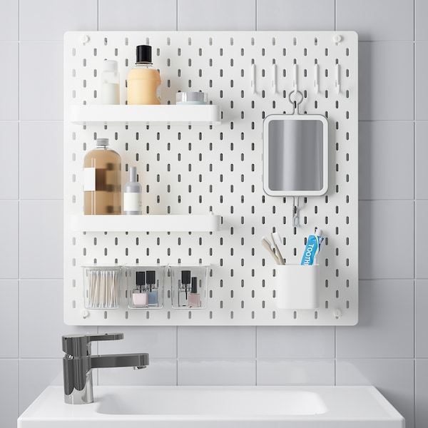SKÅDIS Pegboard combination, white, 56x56 cm