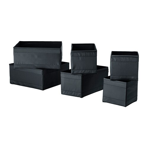 SKUBB Box, set of 6   Helps you organise socks, belts and jewellery in your wardrobe or chest of drawers.