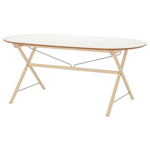 SLÄHULT table white/Dalshult birch 185 cm 90 cm 73 cm