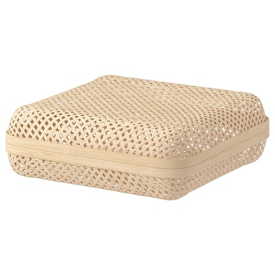 SMARRA Box with lid, natural, 30x30x10 cm