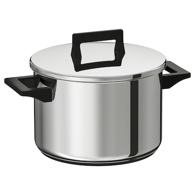 SNITSIG Pot with lid, stainless steel, 5 l