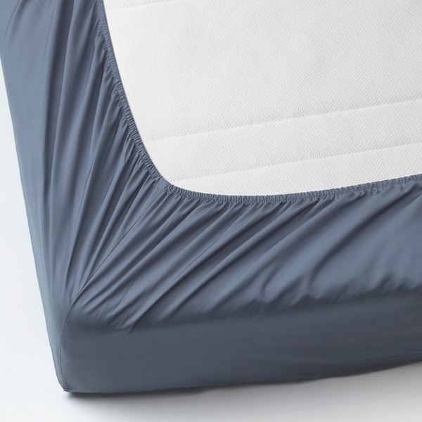 SÖMNTUTA Fitted sheet, blue-grey, 140x200 cm