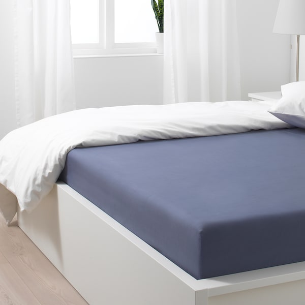 SÖMNTUTA Fitted sheet, blue-grey, 150x200 cm