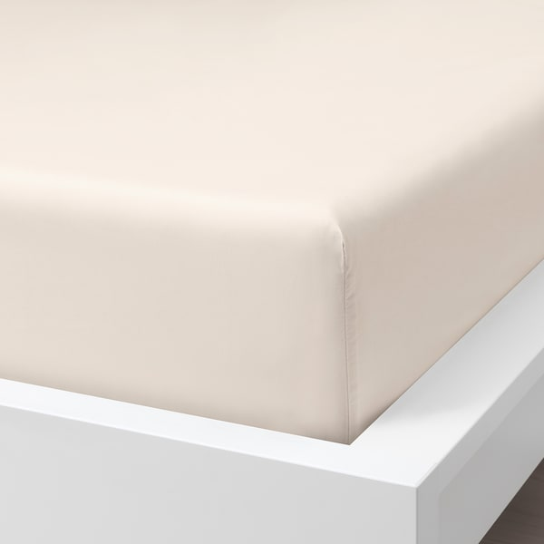 SÖMNTUTA Fitted sheet, light beige, 150x200 cm