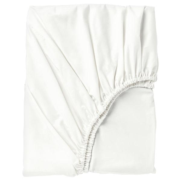 SÖMNTUTA Fitted sheet, white, 150x200 cm