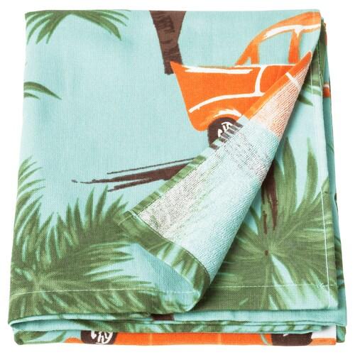 SOLBLEKT beach towel palm/car pattern blue 180 cm 100 cm
