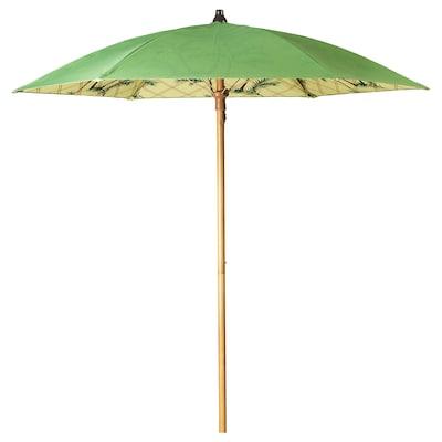 SOLBLEKT Parasol, palm pattern green, 185 cm