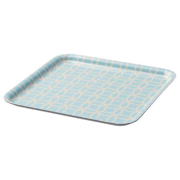 SOLGLIMTAR Tray, turquoise/patterned, 33x33 cm