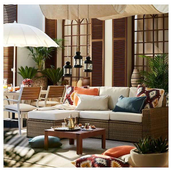 SOLLERÖN 3-seat modular sofa, outdoor, with footstool brown/Frösön/Duvholmen beige, 223x144x88 cm