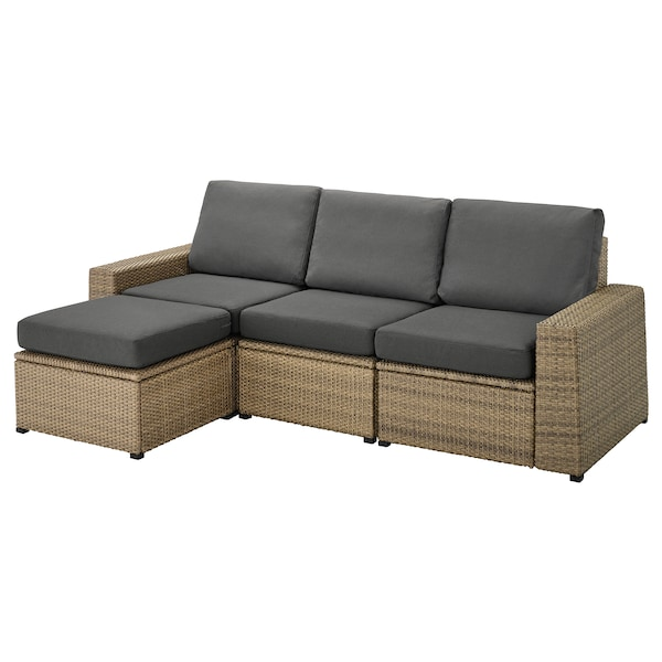 SOLLERÖN 3-seat modular sofa, outdoor, with footstool brown/Frösön/Duvholmen dark grey, 223x144x88 cm