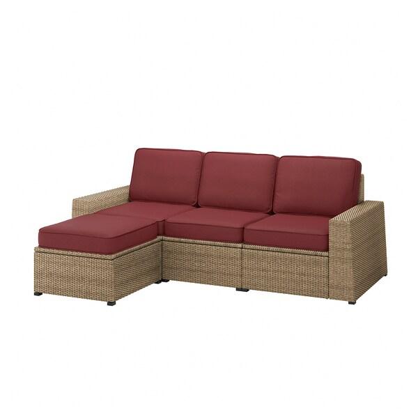 SOLLERÖN 3-seat modular sofa, outdoor, with footstool brown/Järpön/Duvholmen brown-red