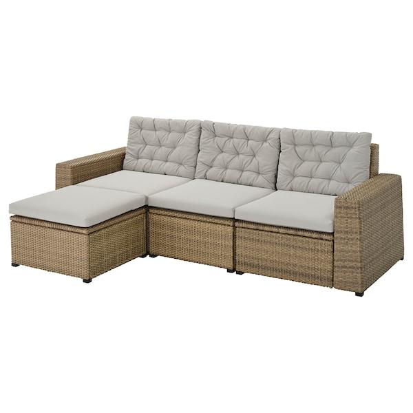 SOLLERÖN 3-seat modular sofa, outdoor, with footstool brown/Kuddarna grey