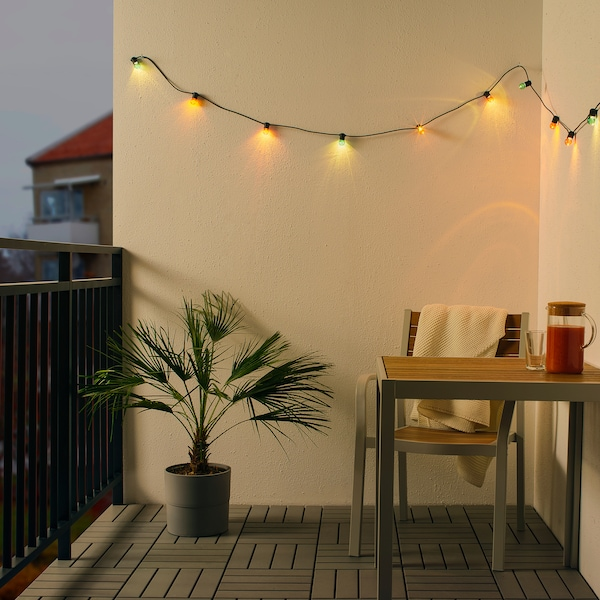 SOLVINDEN LED lighting chain with 12 bulbs, battery-operated/outdoor multicolour