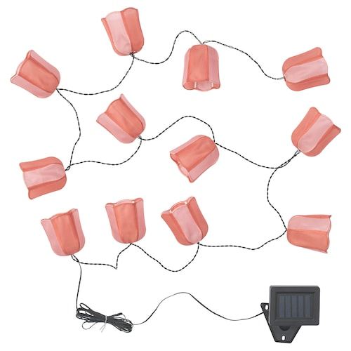 SOLVINDEN LED lighting chain with 12 lights outdoor solar-powered/tulip pink 3.0 m 2 lm 19 cm 2.1 m 0.05 W 5.0 m