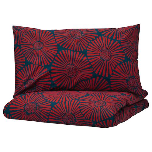 STJÄRNTULPAN quilt cover and 4 pillowcases dark blue/red 152 /inch² 4 pieces 220 cm 240 cm 50 cm 80 cm