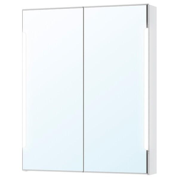 STORJORM Mirror cab 2 door/built-in lighting, white, 80x14x96 cm