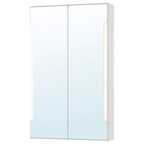 STORJORM Mirror cab 2 door/built-in lighting, white, 60x14x96 cm