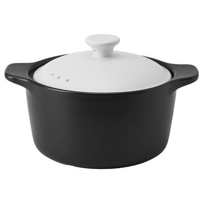 STORKOK Pot with lid, ceramic black/white, 2.0 l