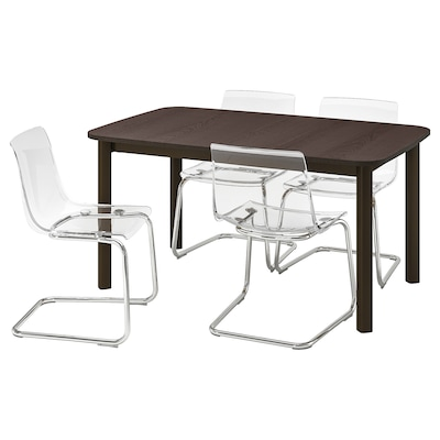 STRANDTORP / TOBIAS Table and 4 chairs, brown/transparent, 150/205/260x95 cm