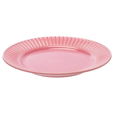 STRIMMIG Plate, stoneware pink, 27 cm