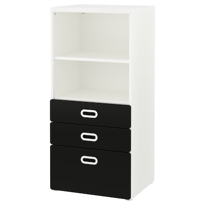 STUVA / FRITIDS Bookcase with drawers, white/blackboard surface, 60x50x128 cm