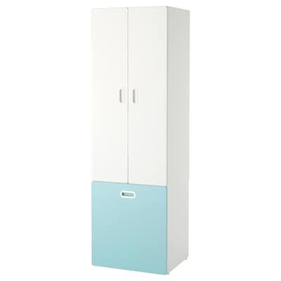 STUVA / FRITIDS Wardrobe with toy storage, white/light blue, 60x50x192 cm