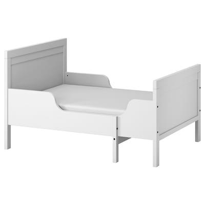 SUNDVIK Ext bed frame with slatted bed base, grey, 80x200 cm
