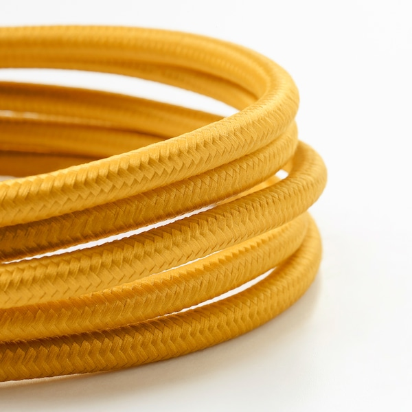 SUNNEBY Cord set, dark yellow textile, 1.8 m
