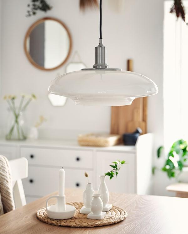 TÄLLBYN Pendant lamp, nickel-plated/opal white glass, 40 cm