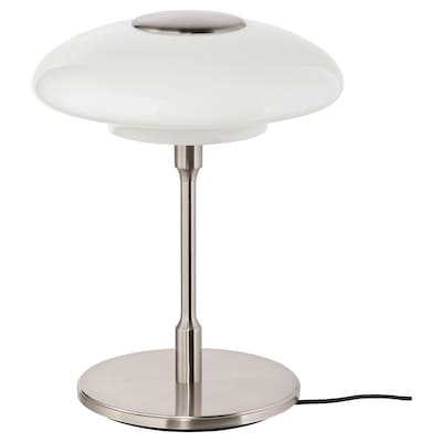 TÄLLBYN Table lamp, nickel-plated/opal white glass, 40 cm