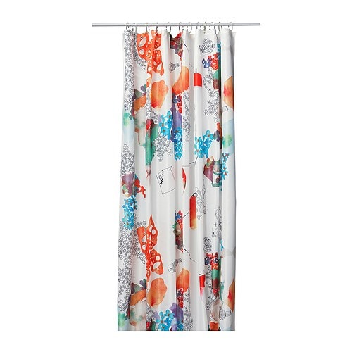 TALLHOLMEN Shower curtain   Densely-woven polyester fabric with water-repellent coating.