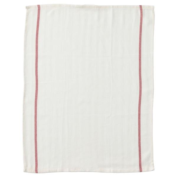 TEKLA Tea towel, white/red, 50x65 cm