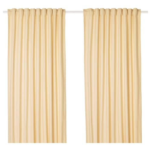 TIBAST curtains, 1 pair yellow 250 cm 145 cm 2.24 kg 3.63 m² 2 pieces