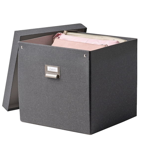 TJOG Storage box with lid, dark grey, 32x31x30 cm