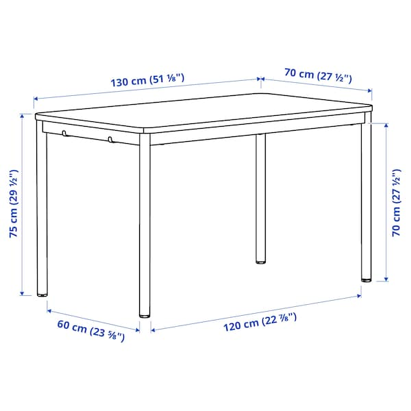 TOMMARYD Table, white stained oak veneer/white, 130x70 cm