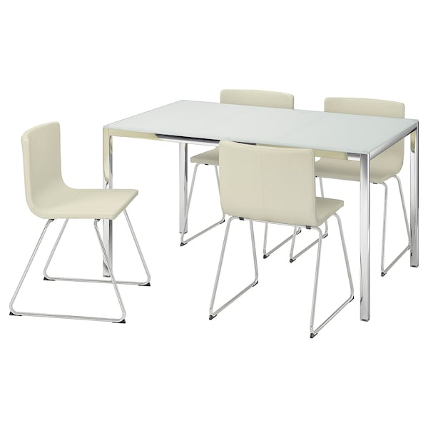 TORSBY / BERNHARD Table and 4 chairs, glass white/Kavat white, 135 cm