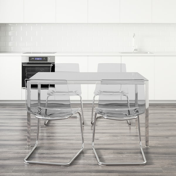 TORSBY / TOBIAS table and 4 chairs white/transparent 135 cm 85 cm 73 cm